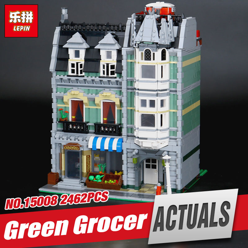 LEPIN 15008 2462Pcs Genuine New City Street Green Grocer Model Building Kit Blocks Bricks Funny Toy Compatible kids Gift 10185 lepin 15009 city street pet shop model building kid blocks bricks assembling toys compatible 10218 educational toy funny gift