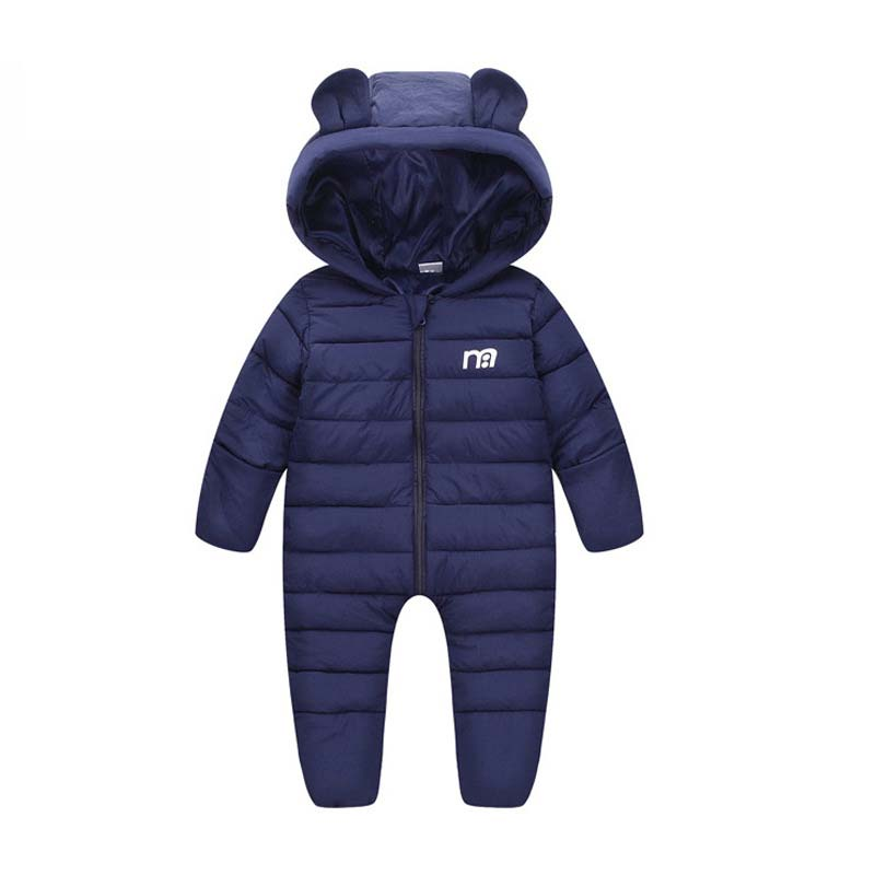 Baby Boy Winter Clothes Baby Girl Long Sleeve Rompers Toddler Warm Down Jumpsuit Unisex Hooded Outwear Children Overalls 18-24M