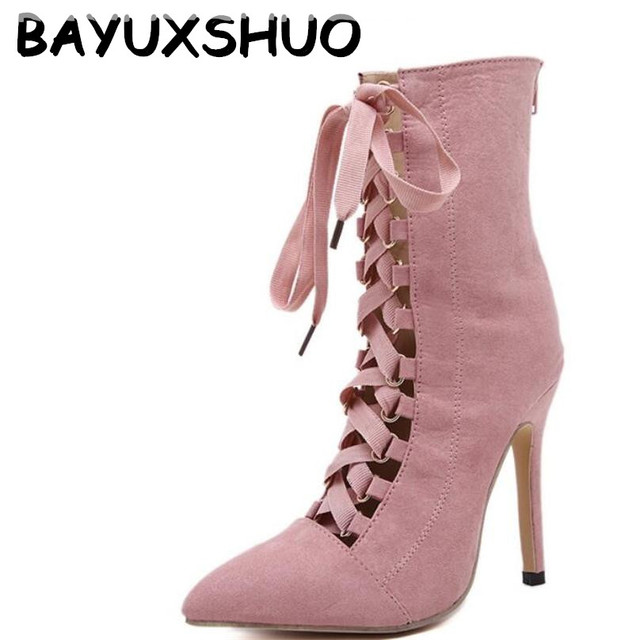 faff694c06013 BAYUXSHUO Gladiator High Heels Women Pumps Genova Stiletto Sandal Booties  Pointed Toe Strappy Lace Up Pumps Shoes Woman Boots
