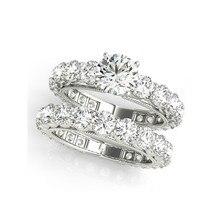 QYI роскошное обручальное кольцо с искусственным бриллиантом кольцо наборы для женщин кольца из стерлингового серебра 925 SONA камень свадебные повязки