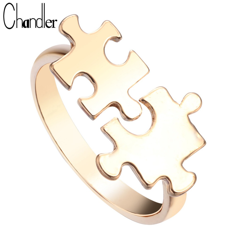 Chandler New Silver Gold Toy Brick Jigsaw Puzzle Ring Open Bague Jewelry Statement Knuckle Finger Cross Bijoux anillos For Women