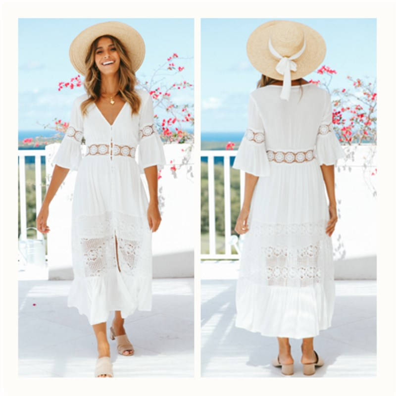 Fashion Vestidos 2018 Summer Dress Women Sexy V Neck Flare Sleeve Beach Dresses Ladies Casual Loose Long Maxi Dress Plus Size