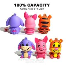 100% real capacity usb flash drive pig pen drive tiger pendrives gift 4gb 8gb 16gb 32gb donkey cartoon with chain