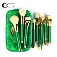 TZ Brand 15pcs Makeup Brushes Goat Hair Foundation Powder Blush Eyeshadow Make Up Brushes Green Makeup Brush Set with Bag