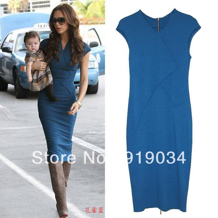 2017 New Fashion Victoria Beckham Style Body Ing Cotton Women Mid Calf Dress Plus Size Pencil Dresses Free Shipping In From S Clothing