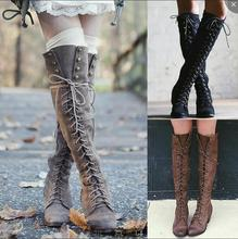 Knee High Boots PU Leather Rivet Lace Up Sexy Lady Shoes Woman Ponited Female Classic Vintage Botas Riding Motorcycle