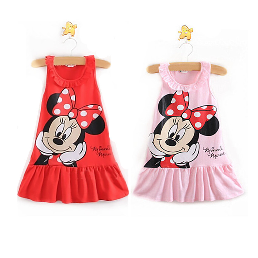 Summer Baby Dresses Clothes Cute Cartoon Minnie Cotton Sleeveless Newborn Toddler Infant Princess Girls Dresse Clothing