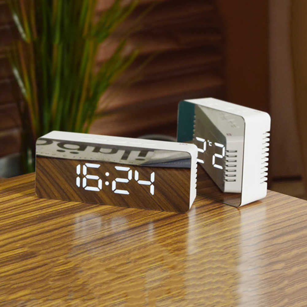 Оптовая продажа, зеркало цифровой светодиодный Будильник ночные светильники термометр настенная лампа-часы квадратный прямоугольник многофункциональные настольные часы