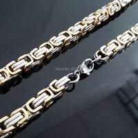 Envío gratis, oro elegante de Color sólo para hombre de acero inoxidable bizantina joyería collar ( longitud : 55 cm, ancho : 7 mm )