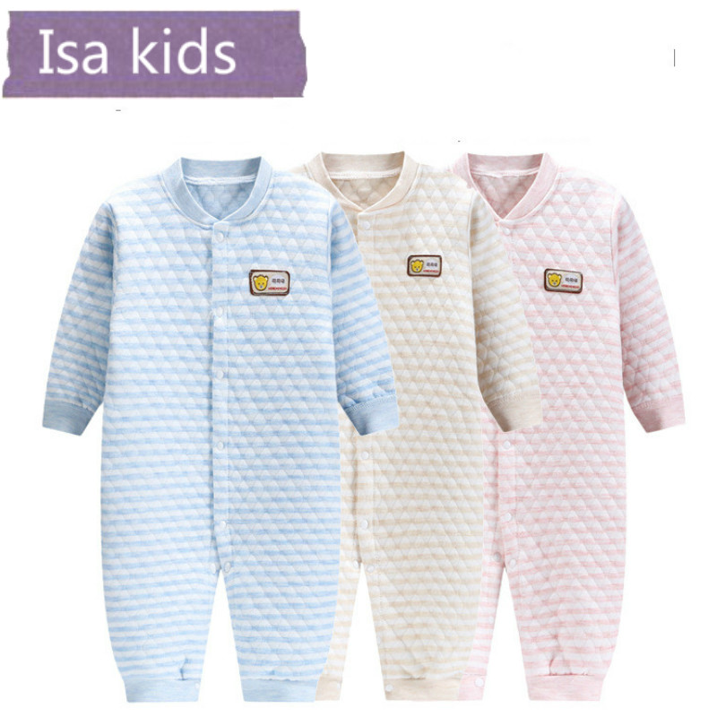 Isa kids 0-18M baby girls   Rompers   warm winter Cotoon Jumpsuits Pajamas infant soft fleece kids costumes baby clothes