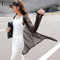 New Arrival 2017 Summer Style Women Casual Loose Long See-Through Mesh Tops Sheer Open Cardigan Solid Shirts Coat Jacket 2 Color