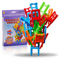 18Pcs/Lot Chair Shape Colorful Blocks Plastic Balance Stacking Chairs Block Toy Desk Educational Play Game Balancing Traning Toy