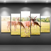 Canvas Schilderijen Wall Art Framework 5 Stuks Prairie Braak Herten Pictures HD Prints Genoegen Dier Sika Herten Poster Home Decor(China)