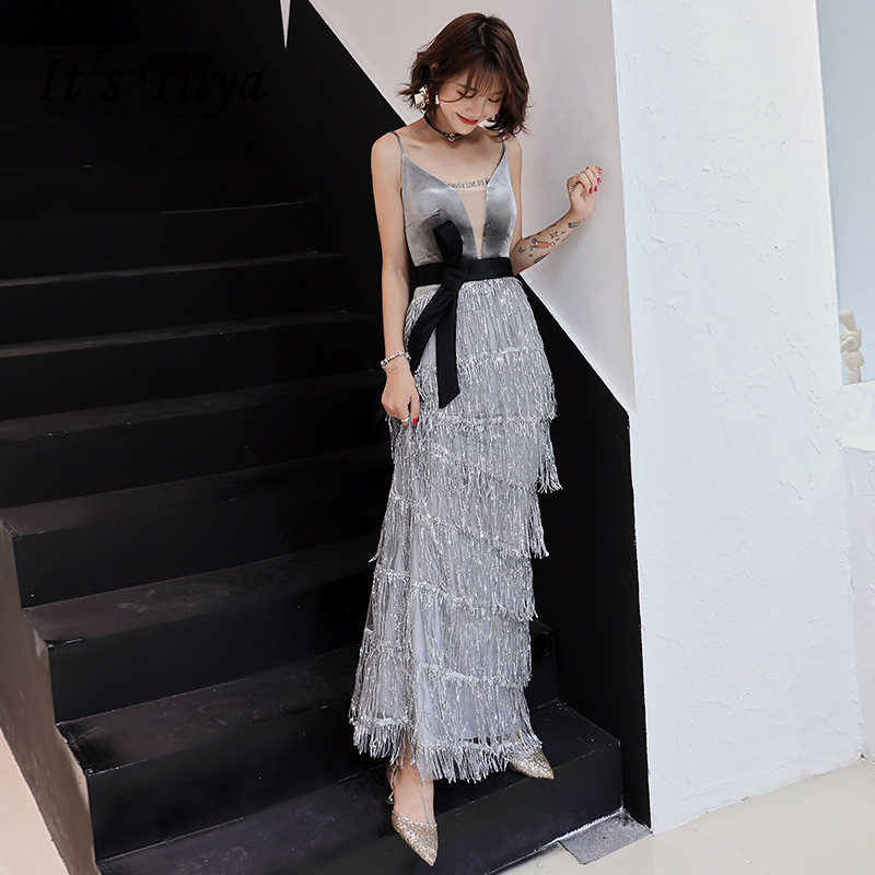 It's YiiYa   Evening     Dress   Gray Sequins Tassel Fashion Spaghetti Strap Formal Trumpet   Dresses   Tiered Zipper Long Party Gown E043