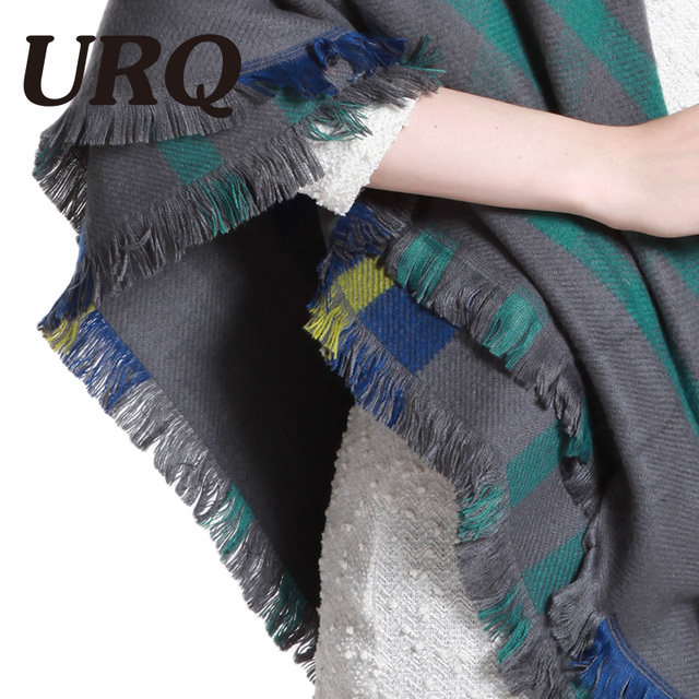 winter warm square scarf for lady plaid blanket women scarf luxury brand big size tartan feminino 2017 new Camel color