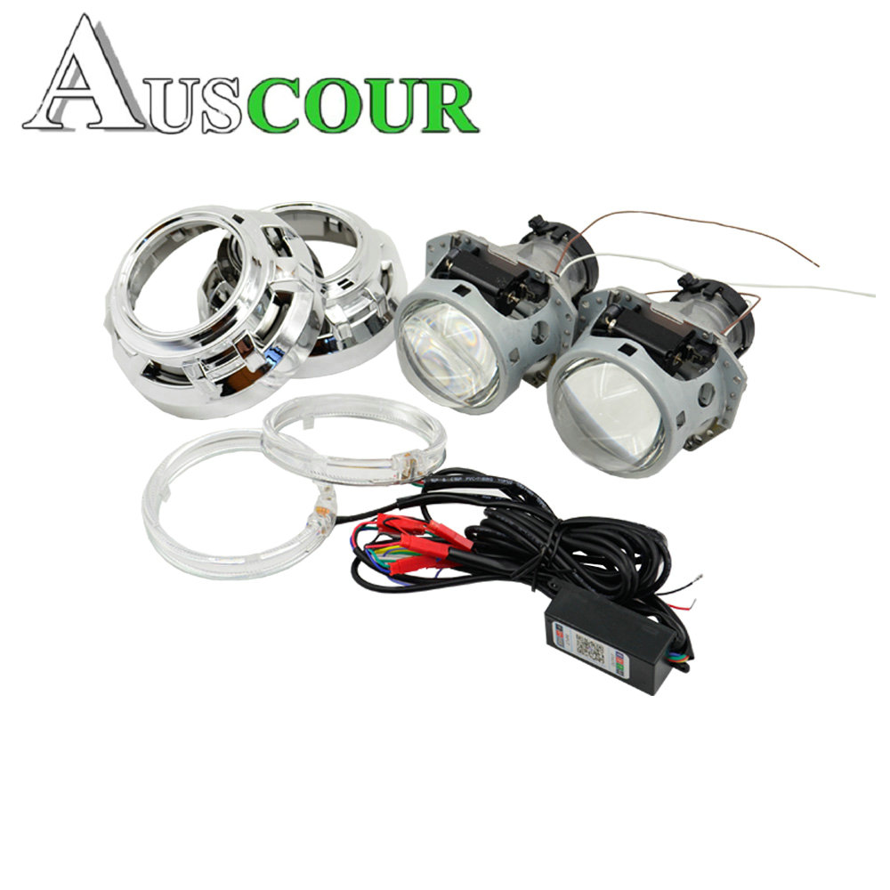 цены 3.0 inch hella 5 car Bi xenon hid Projector lens with RGB app Bluetooth function angel eyes car assembly kit