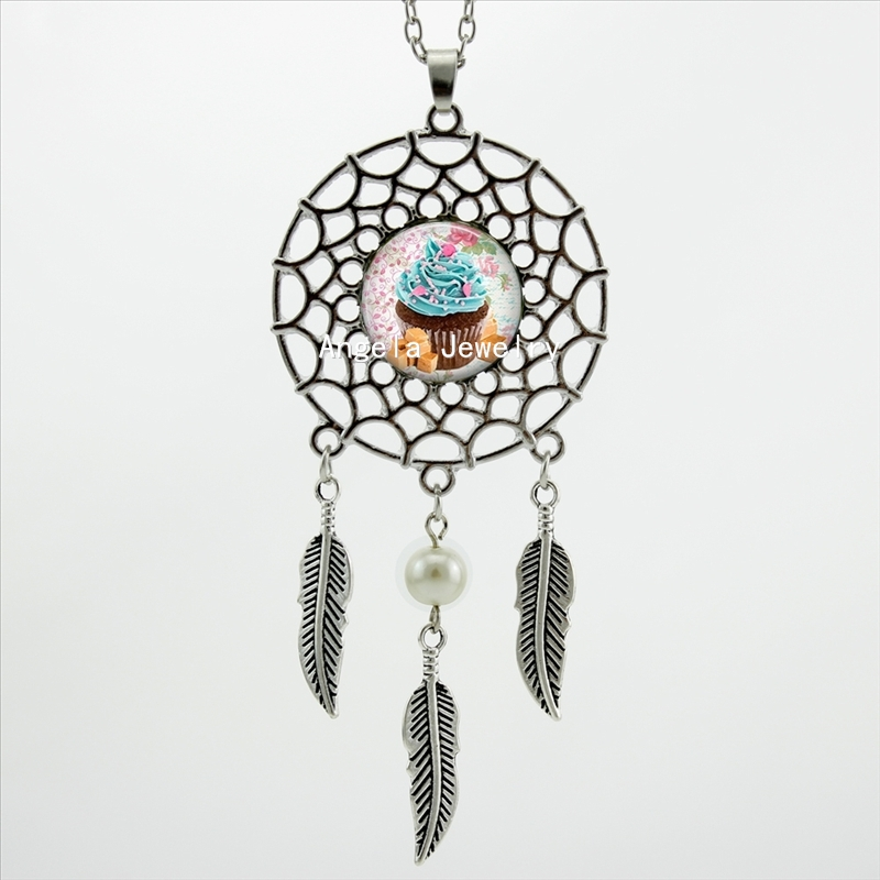 2017 Trendy Style Victorian Cupcake Necklace Cupcake Pendant Jewelry Novel Dream Catcher Necklace DC-00517