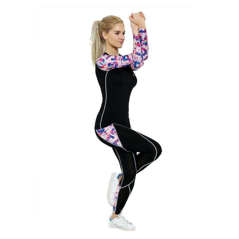 ФОТО 2016 Life on Track Women Sports Yoga Sets Digital Printing Running Sports Shirts + Pant Set Fitness Gym Compression Sets