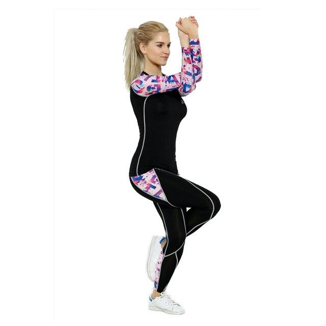 2017 Life on Track Women Sports Yoga Sets Digital Printing Running Sports Shirts + Pant Set Fitness Gym Compression Sets
