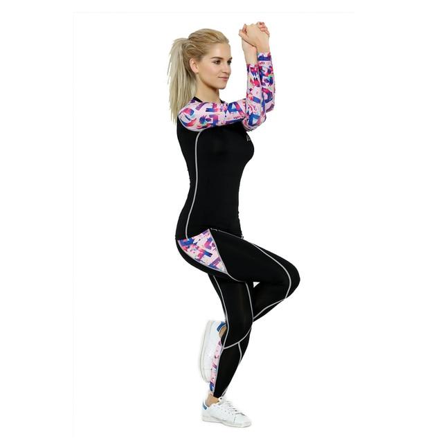 2017 Vida na Pista Esportes Das Mulheres Yoga Define Impressão Digital Correndo Sports Camisas + Pant Set Conjuntos de Compressão De Fitness Gym