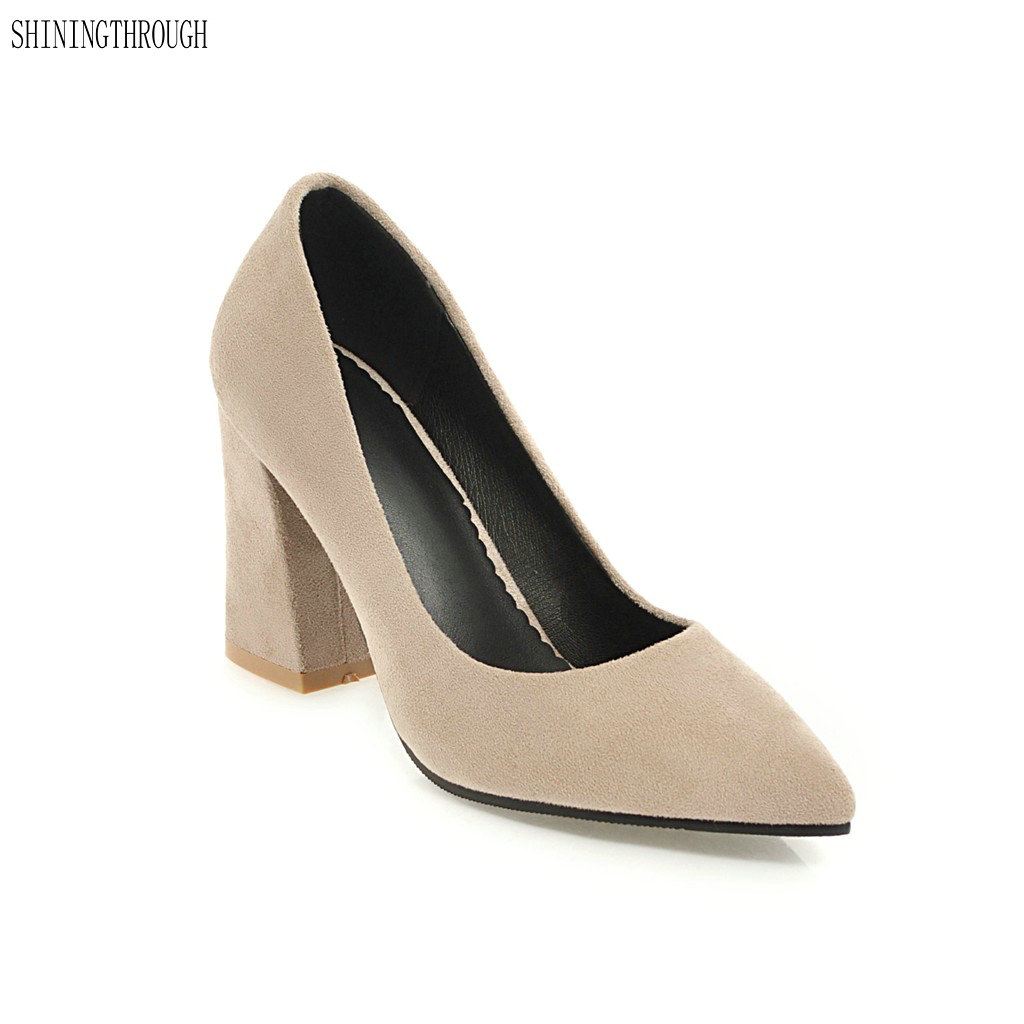 2018 New women pumps thick high heels shoes for office lady poined toe dress shoes woman black yellow beige nemaone 2017 new elegant women pumps poined toe low heels women shoes office lady dress shoes zapatos mujer large size 34 43