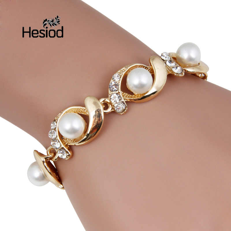 Hesiod Brand New Imitation Pearl Bracelet Women Fashion Trendy Gold Silver Color Chain Crystal Bracelet Alloy Adjustable