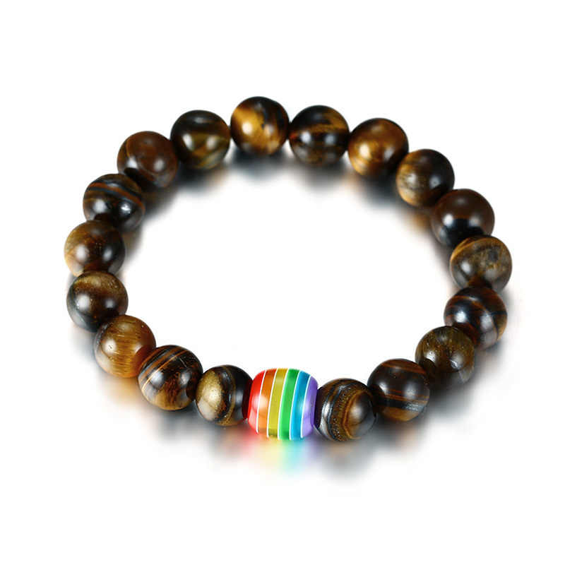 Vnox Gay Lesbian Pride Rainbow Natural Tiger's Eye Stone Lava Rock Beaded Rainbow Bracelets for Men Women