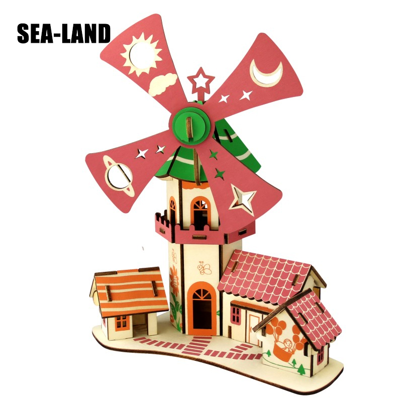 3D Diy Wooden Puzzles Toy For Family Game Childishness Windmill Cottage Educational Puzzle As Montessori Toy Hobby Gift For Kids