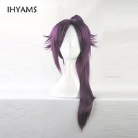 BLEACH Shihoin Yoruichi Purple Cosplay Wig Costume Hair Wig + 1 ponytails + Wig Cap