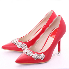Handmade Wedding Shoes Cow Split Pointed Toe Pumps High Heel Wedding Shoes Red Color Rhinestone Bridal Dress Shoes