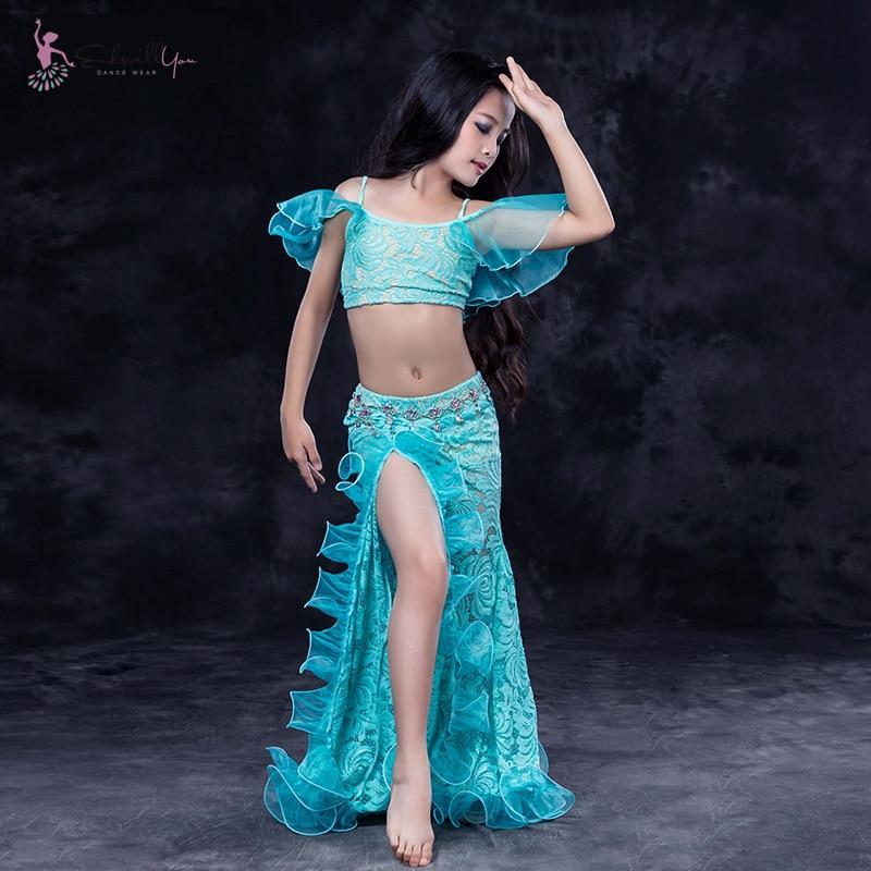 Vente chaude danse du ventre pratique costume enfants filles danse orientale vêtements tenues 2 pièces hauts et jupe Costumes pour enfant en gros