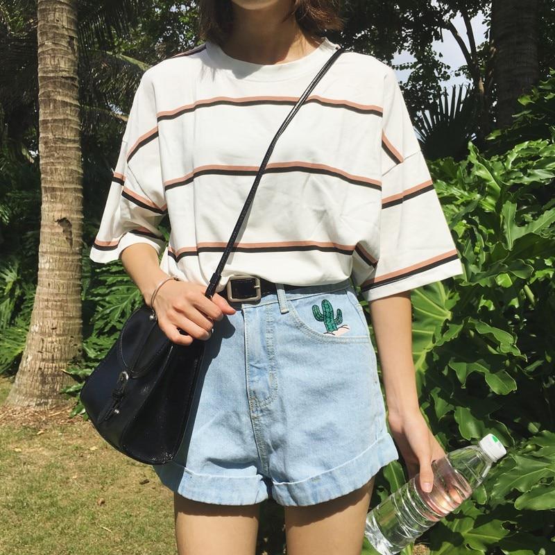 Women's T-shirts Tops Japanese Kawaii Ladies Ulzzang Vintage Wide Stripe Tshirt Female Korean Harajuku Clothes For Women