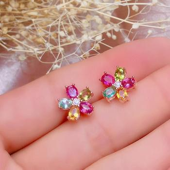 Natural tourmaline stud earrings, colorful gemstones, flashing starlight, 925 silver, precision manufacturin