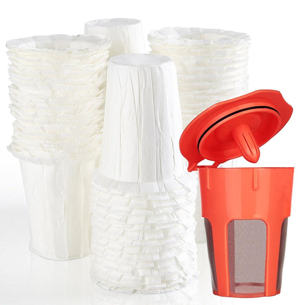 100pcs Disposable Paper Coffee Filters 1pcs Reusable K-Carafe Filter Keurig 2.0 For Keurig Manchine Coffee Blasket Coffee