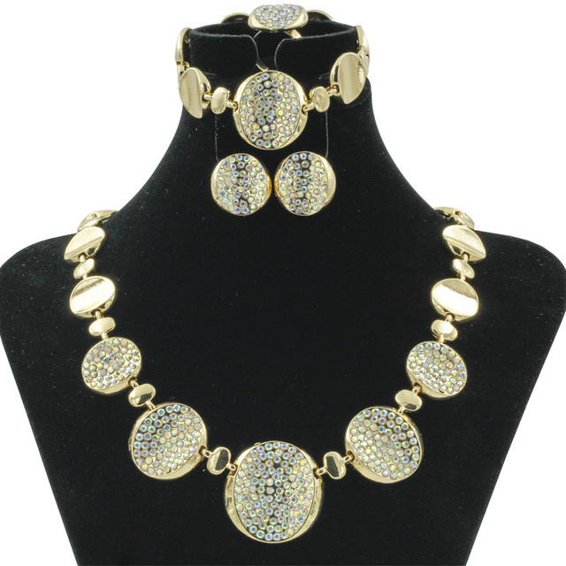 2018 New Luxury Women Party Jewelry Fashion Crystal Round Necklace