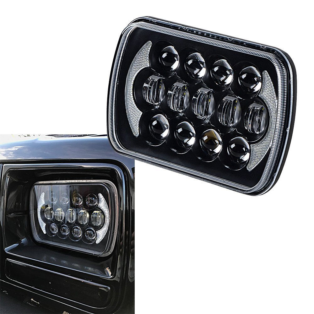 Car H6054 H5054 H6054LL 69822 6052 6053 with 5 x 7 Rectangular Headlight Hi /Lo Beam DRL for Jeep Wrangler YJ Cherokee XJ 2PCS 5 x7 6 x7 high low beam led headlights for jeep wrangler yj cherokee xj h6054 h5054 h6054ll 69822 6052 6053 with angel eye
