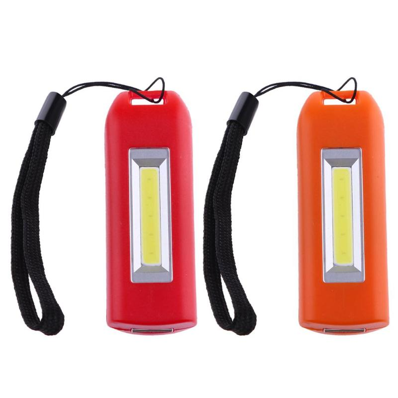 0.5W 200m Red/Orange Mini Portable USB Rechargeable COB LED Flashlight Emergency Home Maintenance Camping Lamp Keychain Torch