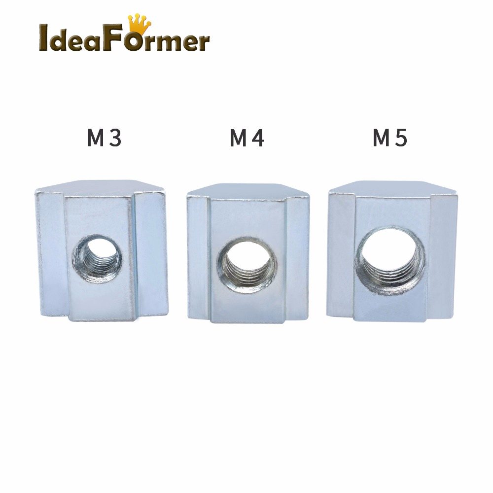 50pcs / Lot T Sliding Nut Lock Nuts Nuts M3 M4 M5 For 2020 Aluminum Profile Slot 6 Connector Aluminum Accessor