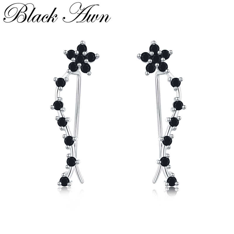 Romancit 925 Sterling Silver Jewelry Engagement Flower Drop Earrings For Women Black Spinel Female Earring Gift I036
