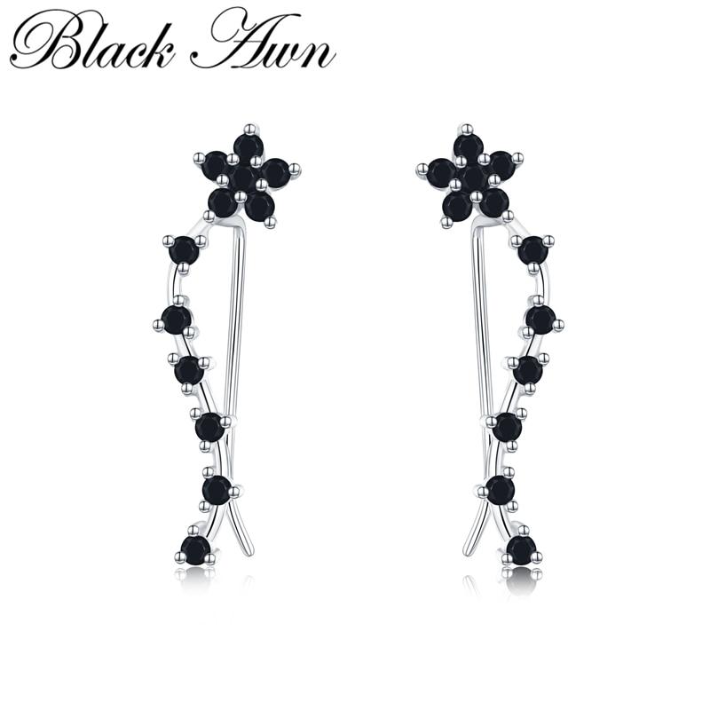 Romancit 925 Sterling Silver Jewelry Engagement Flower Drop Earrings For Women Black Spinel Female Earring Gift I036