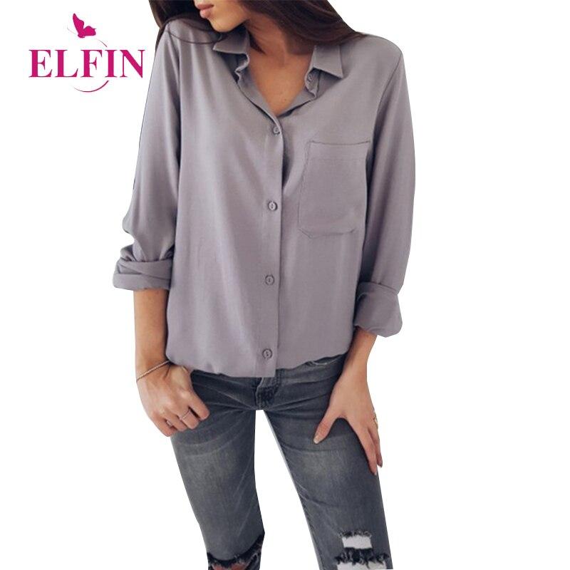 Solid Blouse Elegant Office Lady Long Sleeve Blouses Pockets Autumn 2018 Women Casual Streetwear Female Shirt Top SJ165R