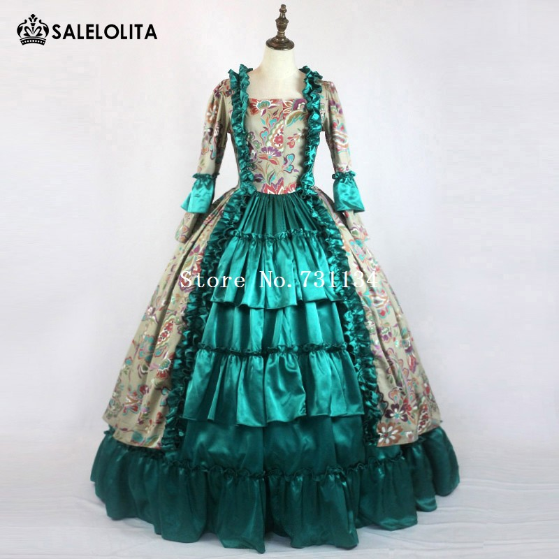 Medieval Princess Masquerade Gown Gothic Victorian Royal Women Green Dress Southern Belle Ball Gown Theater Costume gown