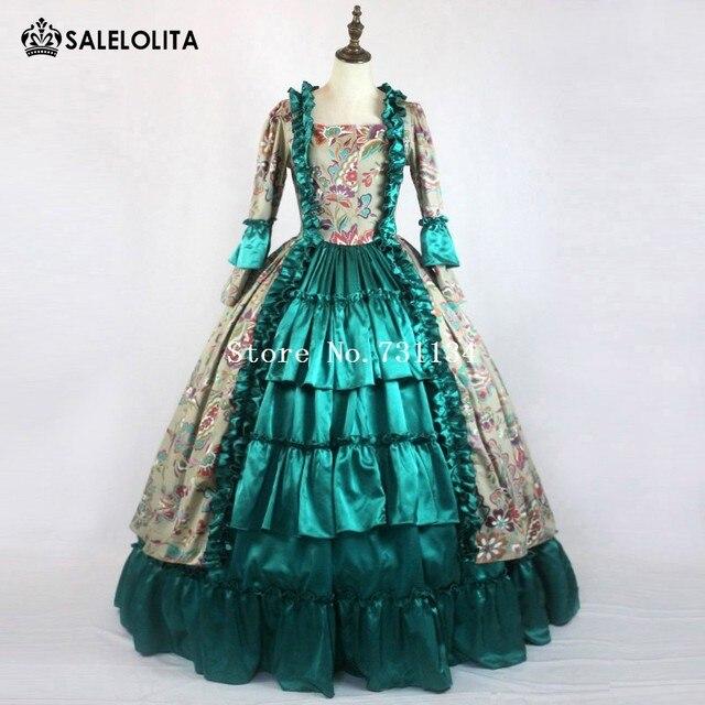 9e1b5cb5478 Robe de mascarade princesse médiévale gothique victorienne Royal femmes robe  verte sud Belle robe de bal