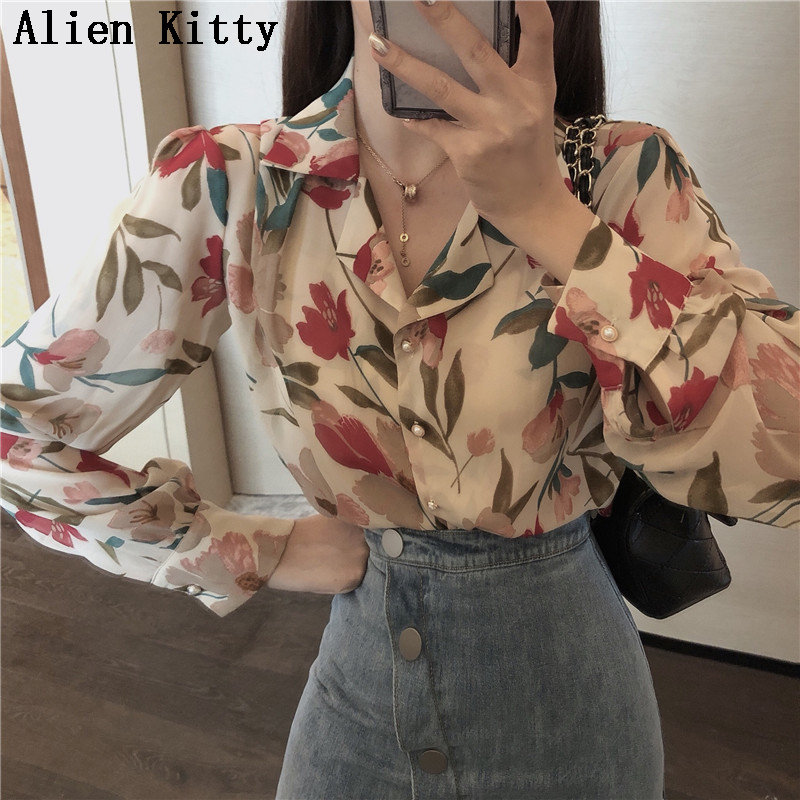 Alien Kitty Vintage Loose Simple Stylish New Print Fresh 2019 Summer All Match Elegant Casual Single Breasted Shirts 2 Colors