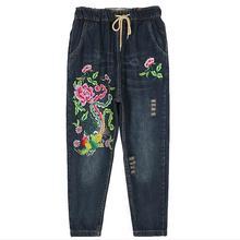 Factory outlet Феникс шаблон Штраф вышивка отверстие хлопок джинсы женские случайные свободные Эластичный Пояс Пят джинсы wj375