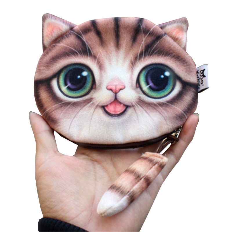 TLDGAGAS 2018  Fashion 3 D Cute Cat Prints Women Coin Purse Ladies Tail Plush Change Purse Bag  Female Coin Change Wallet