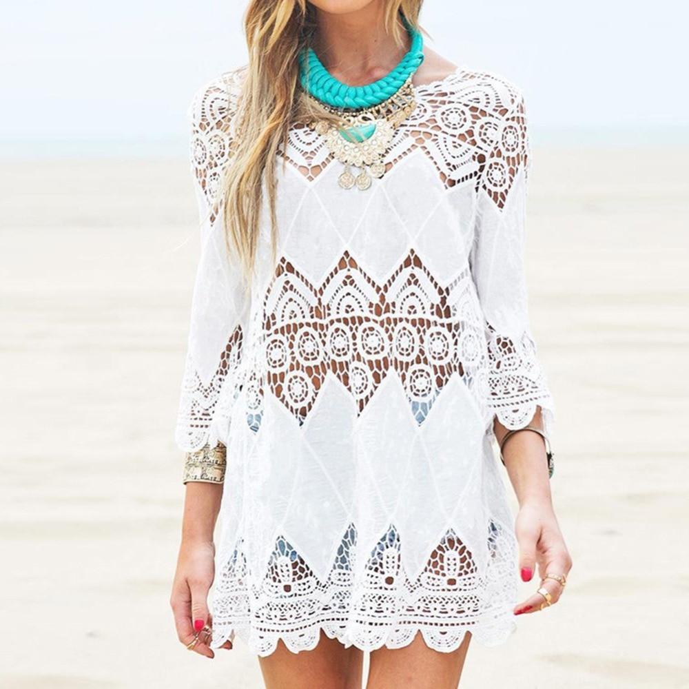 Swimsuit Lace Hollow Crochet Beach Bikini Cover Up 3/4 Sleeve Women Tops Swimwear Summer Beach Dress White Beach Shirt 2 styles white lace up 3 4 sleeve top with crochet back