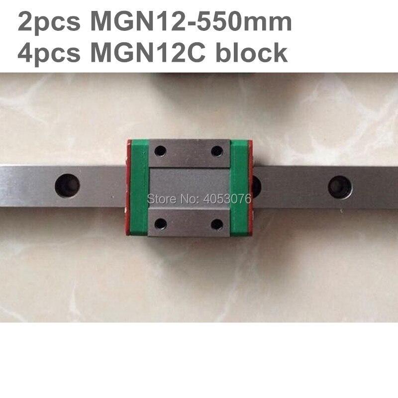 Linear guide MGN12 miniature linear rail slide 2pcs MGN12- 550mm linear rail guide +4pcs MGN12C carriage for cnc partsLinear guide MGN12 miniature linear rail slide 2pcs MGN12- 550mm linear rail guide +4pcs MGN12C carriage for cnc parts