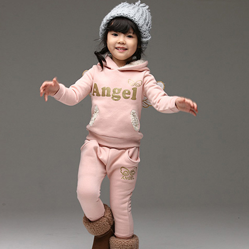 Fashion Children Boys Girls Angel Clothes Sets 100% Cotton Soft Fleece Wings Sets Hooded Coat+Pants 2pcs Clothing Set Boy Girl boys fleece jackets solid coat kid clothes winter coats 2017 fashion children clothing