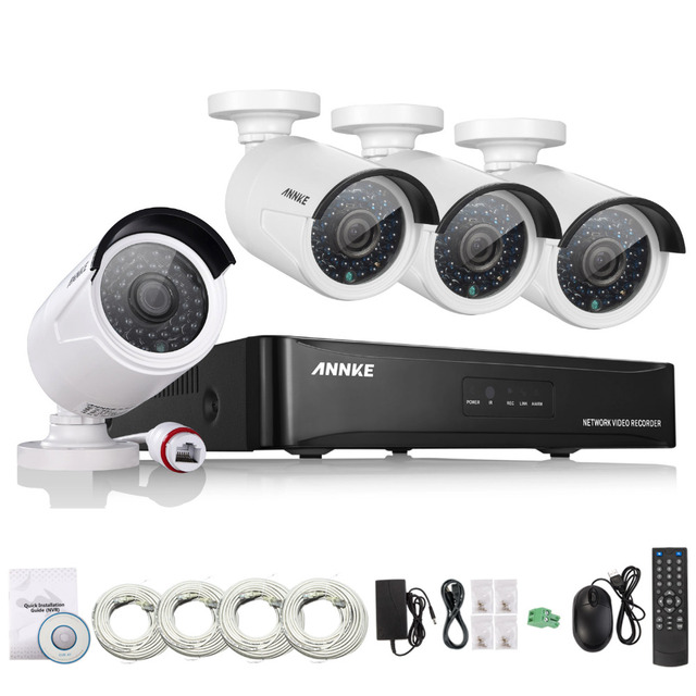 ANNKE 4CH 1080P POE CCTV System full HD PoE CCTV NVR kit 2.0MP Security camera  infrared outdoor 1080p Video System